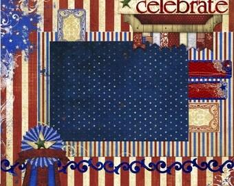 Celebrate - 12x12 Premade Scrapbook Page - July 4th