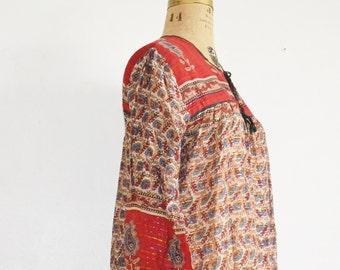 Boho indian gauze dress red indian festival dress