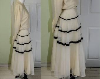 Vintage Woman's 1950's Full Cream Crinoline Skirt with Velvet Stripes
