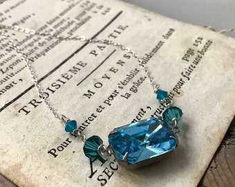 Blue Crystal Vintage Style Necklace With Crystal Mothers Day Spring Gifts Under 40 Bridesmaid Jewelry Sterling Statement Necklace