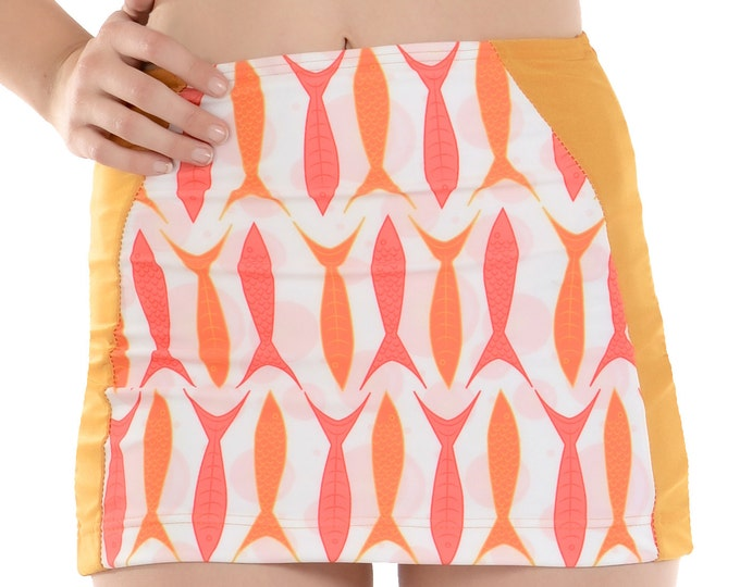 Goldie Swim Skirt in Orange Fish Print