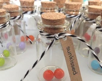 "Orange Stud Earrings / ""Sunkissed"" / Stocking Stuffer / Adorable Glass Bottle with Cork Top / Makes a great gift / Handmade in TX"