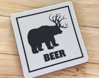 Bear Deer Beer Coaster