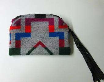 Zippered Pouch Coin Purse Change Purse Accessory Organizer Wool Southwest Print Wool from Pendleton Oregon
