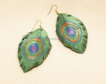 Leather Peacock Feather Earrings (BB130)