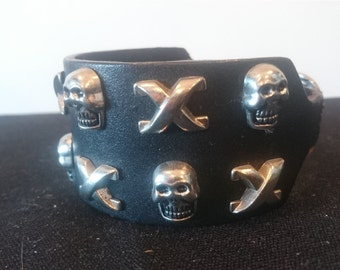 Vintage Black Leather with Silver Metal Scull and Cross Bones Cuff Bracelet 1970's