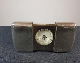 Vintage Quartz Slide Travel Alarm Clock Silver Chrome Metal
