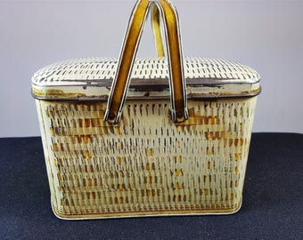 Vintage Tin Metal Basket Shaped Biscuit Box 1930's
