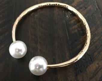 Dara Ettinger Gold Plated Pearl open bangle Bracelet