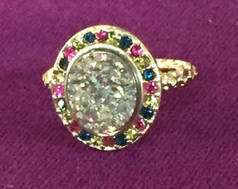 SALE Dara Ettinger BETH Druzy Ring in 14kt Gold/ Firefly/ Pink Multi Crystal sz 7