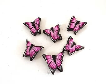 Hot Pink Butterfly Beads, Flutteryby Cane, Polymer Clay Beads, Fuschia Beads 6 Pieces