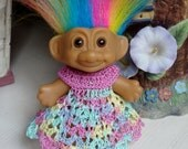 Crochet clothes outfit for 2 3 /4 to 3 inch Troll doll Dress Empire Crystal Bead Pastel Yellow Pink Blue Green