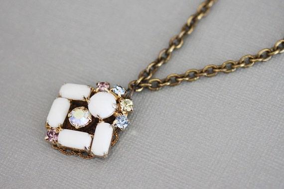 Large Rhinestone Necklace Milk Glass Pendant Vintage Jewelry Long White Necklace