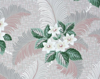 1940s Vintage Wallpaper by the Yard - White Flowers with Pink Silver and Gray Ferns Botanical Floral Wallpaper