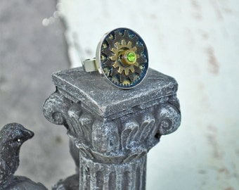 BRONZE STEAMPUNK GEARS With green Crystal Rhinestone Silver Adjustable Ring