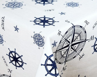 "SQUARE -  Handmade Tablecloth - 68"" x 68"" - 170 cm x 170 cm - NAUTICAL DESIGN"