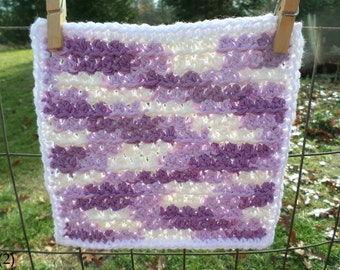 Purple Striping with White Border Hand Crocheted Wash/Dish Cloth 100% Cotton