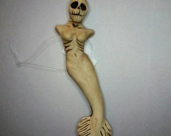 skeletal mermaid pendant