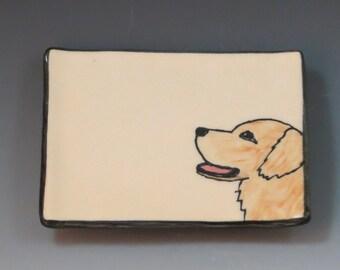 Handbuilt Ceramic Soap Dish with Dog - Golden Retriever