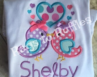 Personalized Valentine Shirt- Valentine's Day shirt- Love Birds Applique Shirt