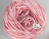 RESERVED FOR VANDANBOS Sari silk ribbon, pink sari ribbon, tassel supply, weaving supply, wrapping ribbon, ribbon yarn, New style, less fray