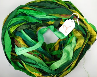 Sari silk Ribbon, Recycled Silk Sari Ribbon, Green sari ribbon, green ribbon, weaving supply, jewelry supply