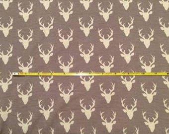 NEW Art Gallery Buck Forest MINI Bucks on Mist cotton Lycra  knit fabric 1 yard.