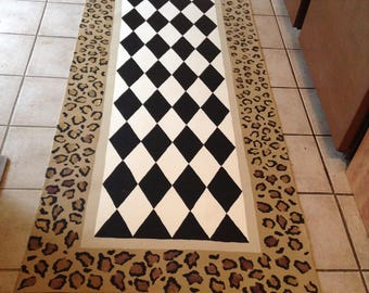 """Leopard Print / FLOORCLOTH Runner / Hand Painted Canvas Rug / Whimsical / Black and White Diamond / ANIMAL PRINT / 30"""" x 72"""""""