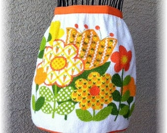 TOWEL APRON with Flowers