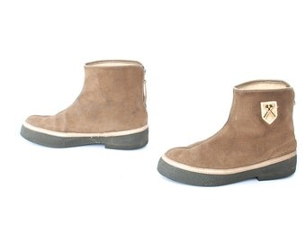 size 7.5 PLATFORM tan leather 70s 80s WEDGE SHEARLING winter fleece pull on ankle boots
