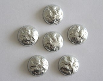 Vintage textured silver round cabochons . 18-19mm (6)