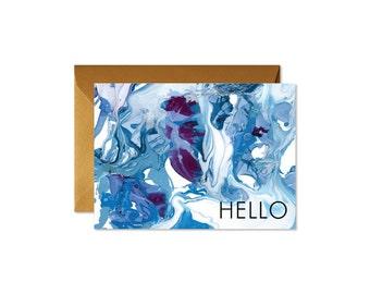 HELLO Indigo + Burgundy Marble Art Notecards + Envelopes Pack   Boxed Set (8)   Abstract   Modern