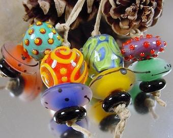 Handmade lampwork glass bead set, Artisan glass beads, yellow beads, blue beads, green bead, orange beads, SRA lampwork beadss, red beads
