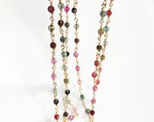 One feet Gold plated brass  beaded chain with 4mm Natural light Pink/green agate beads, rosary chain