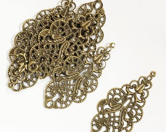 20 pcs of antique brass filigree connector links 19x42mm, sbronze filigree drops, bronze filigree pendant