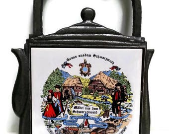 Vintage Black Forest Souvenir Kitchen Trivet Teapot Shape