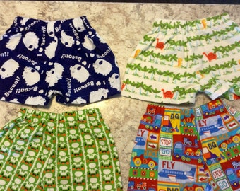 Boy's 4 pair of lounge shorts FROGS PIGS DINOSAUR Trucks Pajama Pack Children's Size 3t 4T