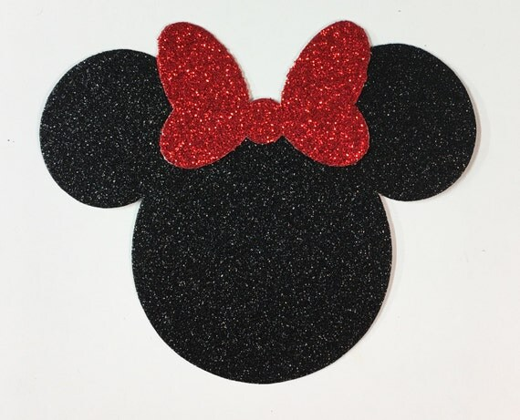 Disney Minnie Mouse Large 4 Inch Black and Red Glitter Cardstock Die Cut Shapes Cute Bow - 10 Pieces - Scrapbook Decor Art Craft Vacation