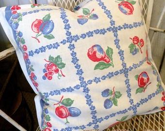 Pillow sham Vintage Retro toweling Farmhouse Summer Porch red white blue yellow RDT ECS FVGteam