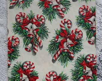 Vintage 1950's NOS Christmas Wrapping Paper -Candy Canes  - Christmas Bells - Bows