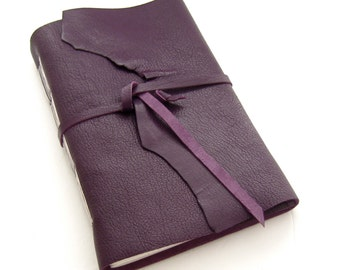 Purple Leather Journal, Large Sketchbook, Unlined Journal, Leather Diary, 3rd Anniversary Gift for Writers, Artist Gift, Leather Notebook