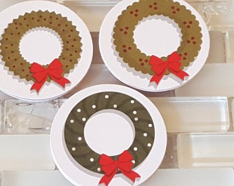 """Red and Green Christmas Wreaths 2"""" Diecut Circles or Sticker Set"""