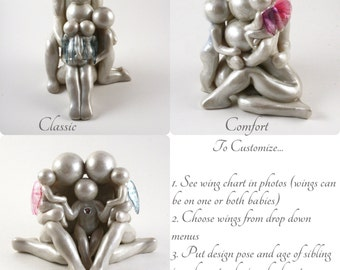 Custom Family of 5 with TWIN babies memorial sculpture - Choose from 3 poses and customize sibling's age