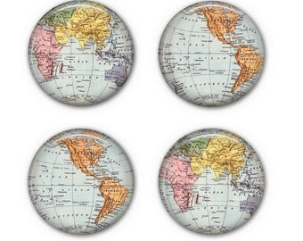WORLD MAP COASTERS - Drink Coasters, Set of 4 Coasters, Round Coasters - C001