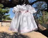 Vintage Girls White Eyelet Easter Spring Dress Sz 9 months
