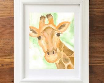 Giraffe Art. Giraffe Art Print. Animal Art. Nursery Decor. 8 x 10 print. Safari theme. Watercolor Giraffe Painting. Ready to Frame. Wall Art