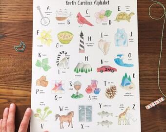 Alphabet Poster. Alphabet Letters. North Carolina Art . Nursery Alphabet. Kids Room Decor. ABCs Art Print. 11x14 Wall Art. Ready to Frame.