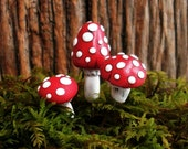 Mushroom/Toadstool Terrarium or Plant Decoration, Set of 3 Assorted on Wire