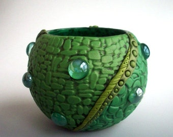 Green Leaf Vase Bubble Bowl Polymer Clay And Glass By