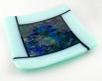 Colorful Square Fused Glass Sushi Plate Dish in Blue Teal Green Turquoise Pink Opal White